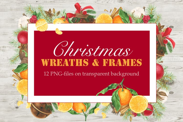 Watercolor Christmas Frames and Wreaths example image 1