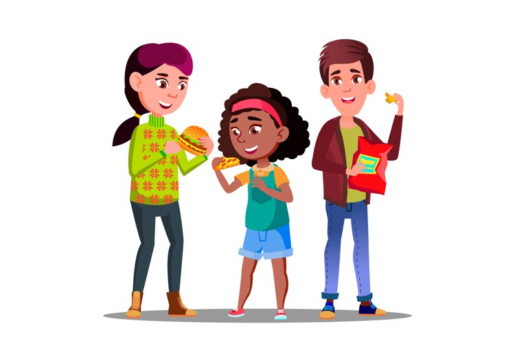 Unhealthy Diet, Boy And Girl Eating Hamburgers example image 1