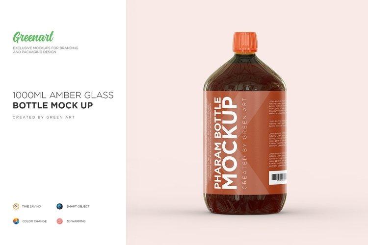 1000ml Amber Glass Bottle Mockup example image 1