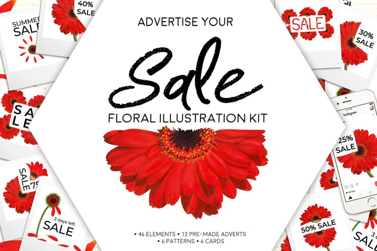 Floral Illustration SALE Advert Kit