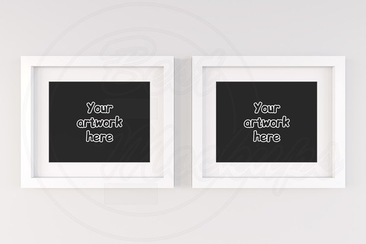 Set of 2 white empty frames mock up example image 1