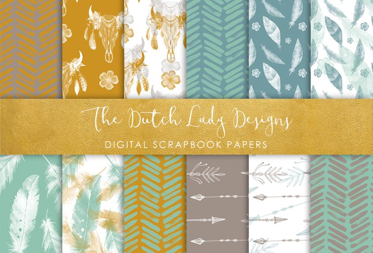 Bohohemian Watercolor Patterns - Scrapbook Papers example image 1