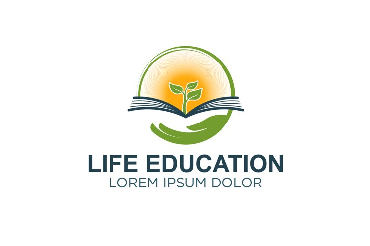 Book logo with plant element - live education modern logo example image 1