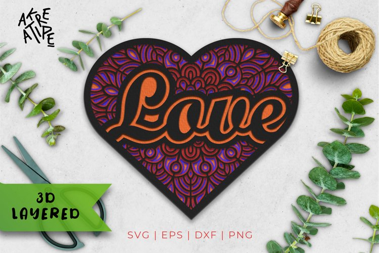 3D Layered Love SVG | Love Cut File | Mandala SVG | Vol 1 example image 1
