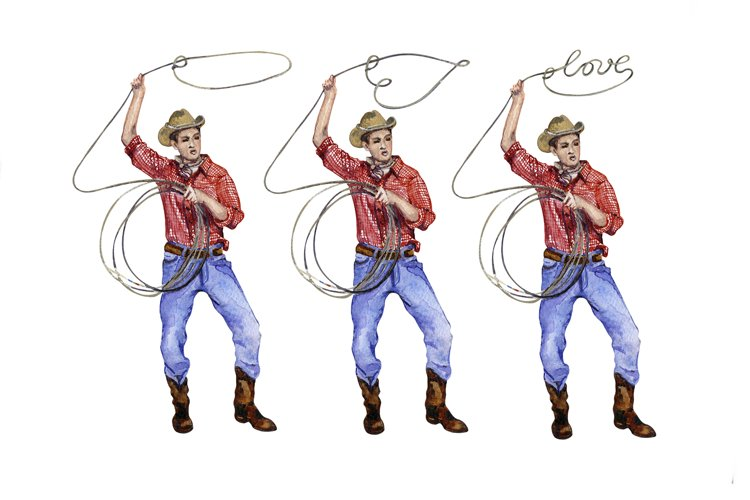 Watercolor Cowboy in love png set, Valentines clipart example image 1