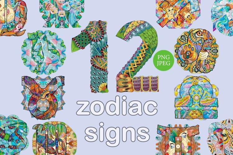 Zodiac signs with mandalas