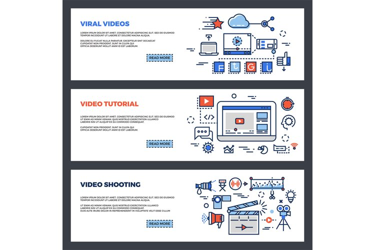 Video and digital marketing web banners set example image 1