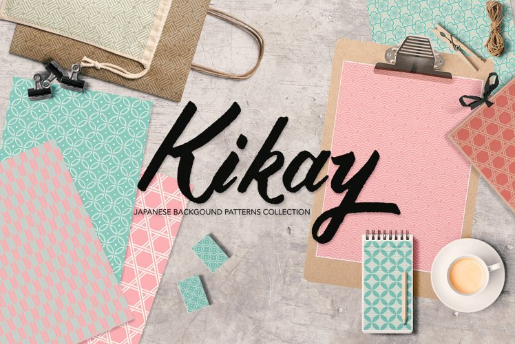 Japanese Backgrounds in Coral Pink and Mint Green Digital Graphics Printable example image 1