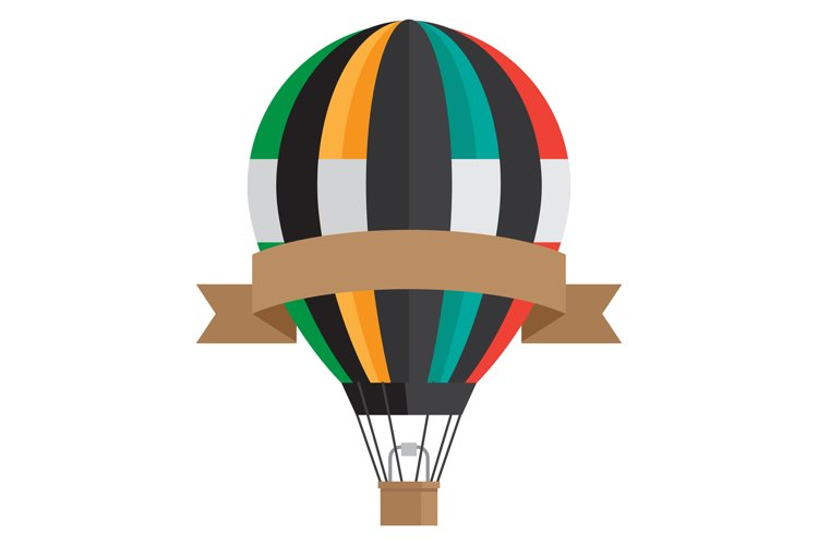 Vintage style aerostat with ribbon banner - vector hot air b