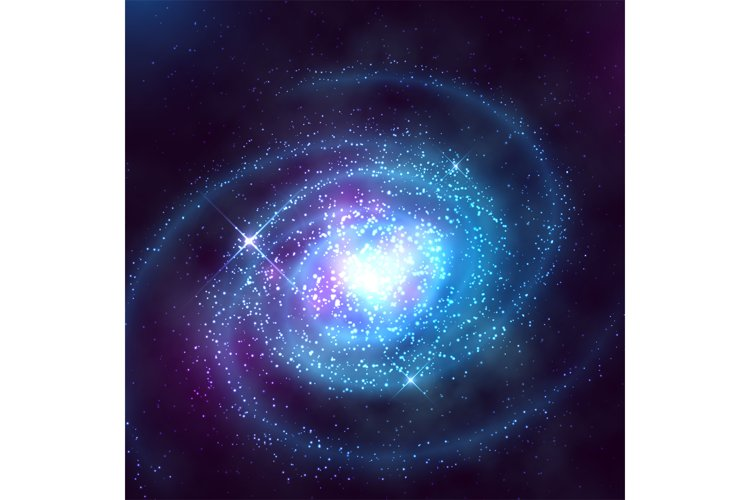Spiral galaxy in outer space with starry blue sky vector ill