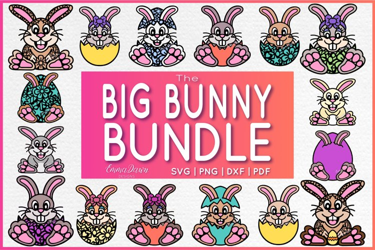 THE BIG BUNNY BUNDLE SVG 16 MANDALA / ZENTANGLE DESIGNS example image 1