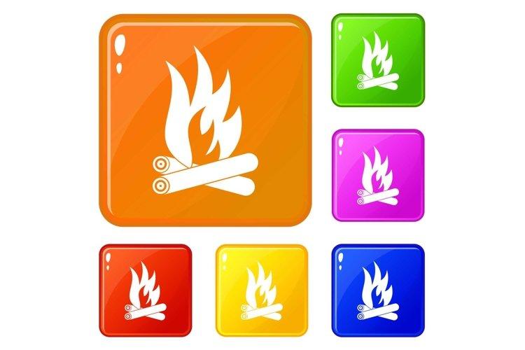 Bonfire icons set vector color example image 1