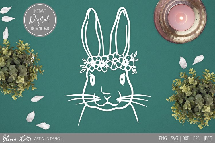 SVG / PNG / DXF / JPEG / EPS Bunny Flower Crown Design