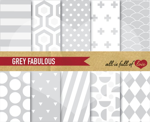 Grey Digital Paper Geometric Background Patterns to print or web example image 1