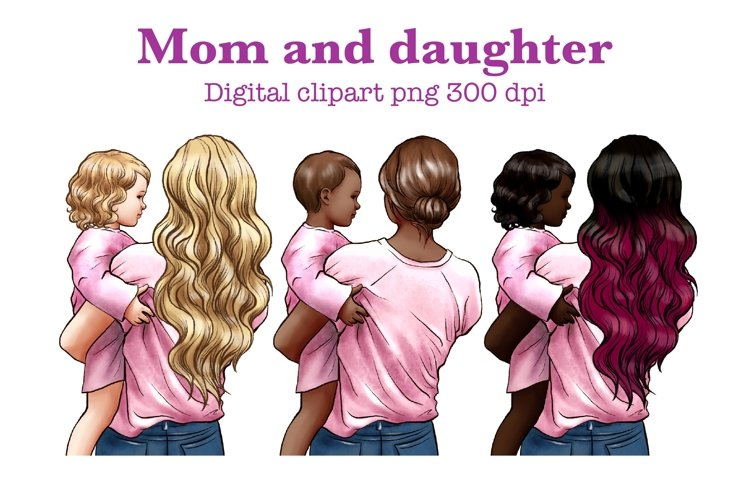 Mothers Day clipart, mom and baby clipart, family clipart