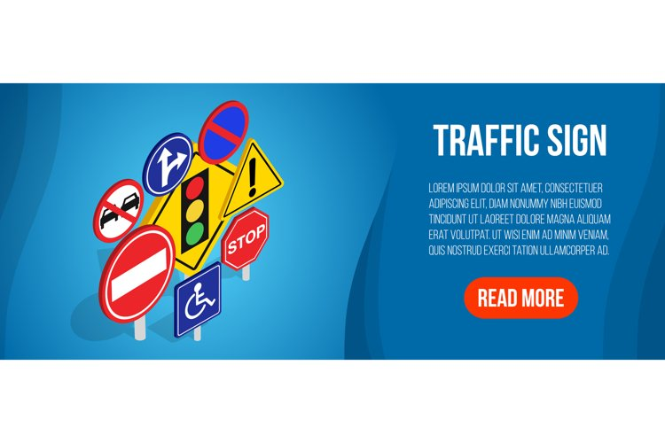 Traffic sign concept banner, isometric style example image 1