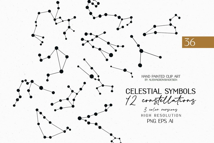 Zodiac constellations Clipart Set