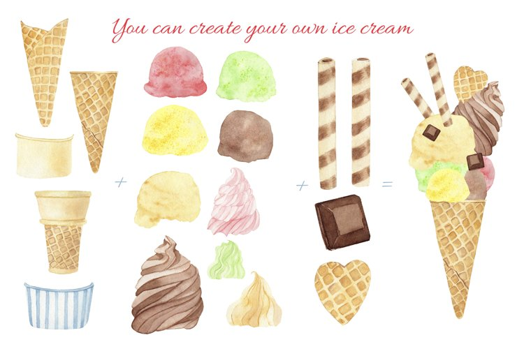 Ice Cream Popsicle Clipart. Watercolor Ice Cream Shop. example 2