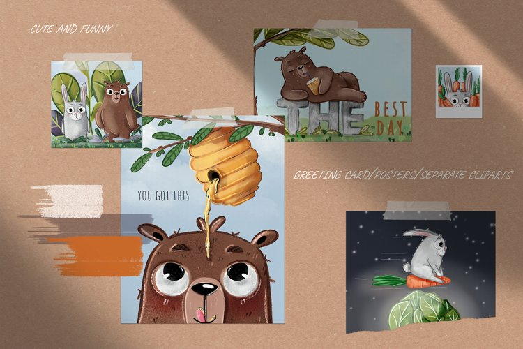 Funny bear and rabbit greeting cards, posters, cliparts