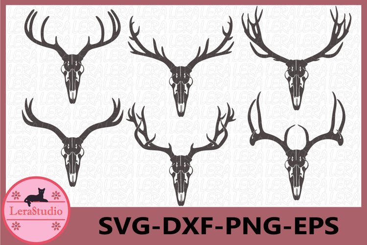 Deer Antler Skull Svg, Deer Skull Svg, Antler SVG Files example image 1
