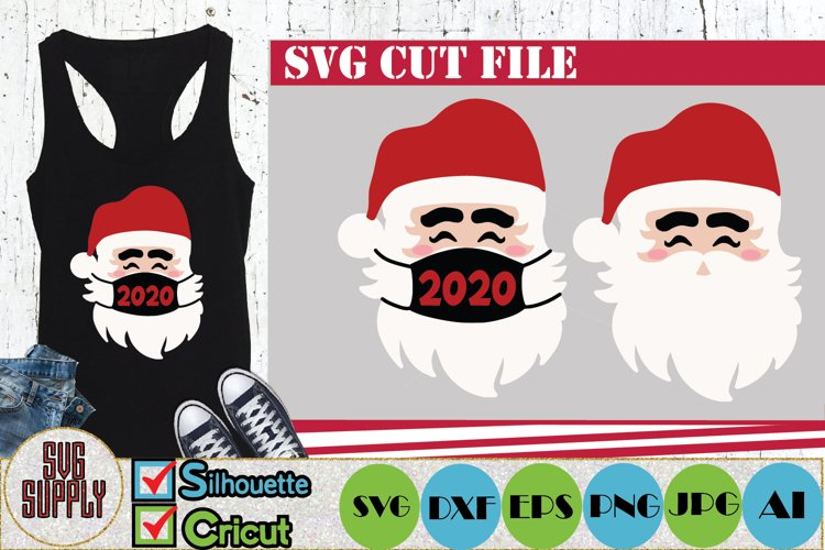 Santa with Facemask Christmas Quarantine SVG Cut File