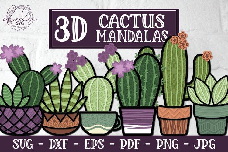 3D Cactus Mandalas, Layered Cactus, Papercut Succulent, DXF example image 1