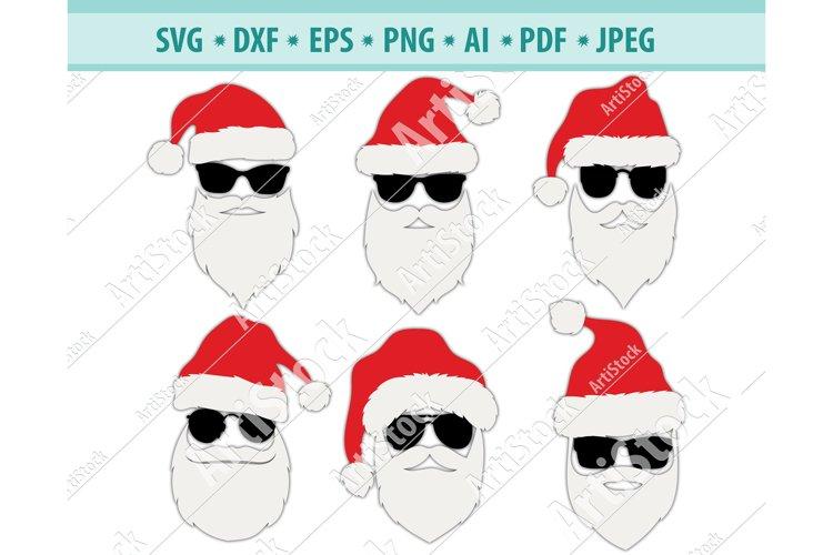 Santa Face Svg, Hipster Santa Svg, Santa Hat Png, Dxf, Eps