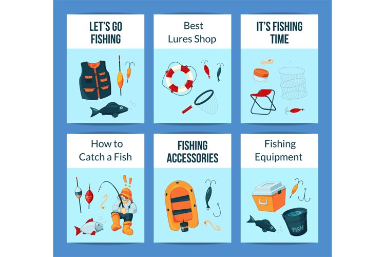 Vector card or flyer set with cartoon fishing equipment example image 1