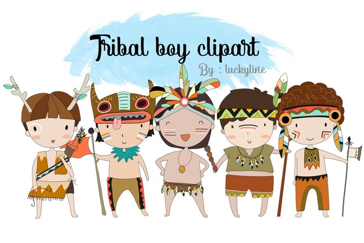 Tribal boy , boy Clipart Instant Download PNG file - 300 dpi example image 1