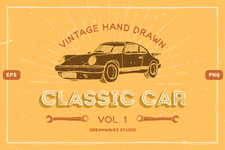 Vintage Hand-Drawn Classic Car Vol.1