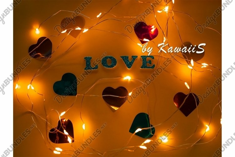 Valentine's Day Love glitter sign text on orange background example image 1