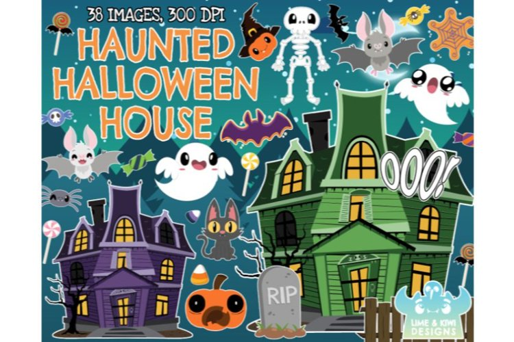Haunted House Clipart - Lime and Kiwi Designs