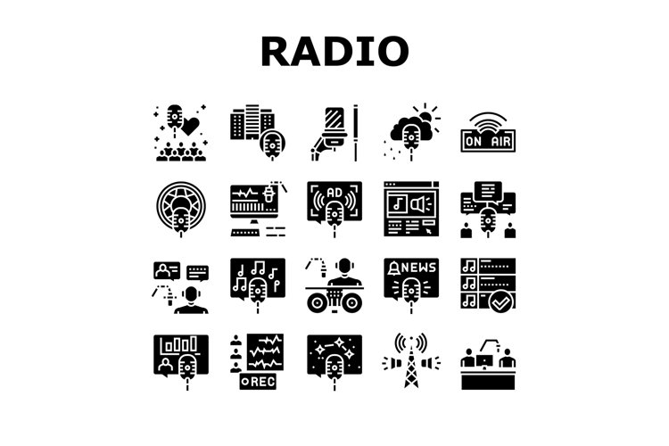 Radio Studio Podcast Collection Icons Set Vector example image 1