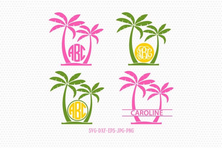 Palm Tree SVG, Palm Tree Monogram frames, Beach Monogram SVG