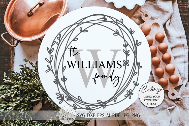 Monogram Wreath SVG | Farmhouse Sign SVG | dxf and more example image 1