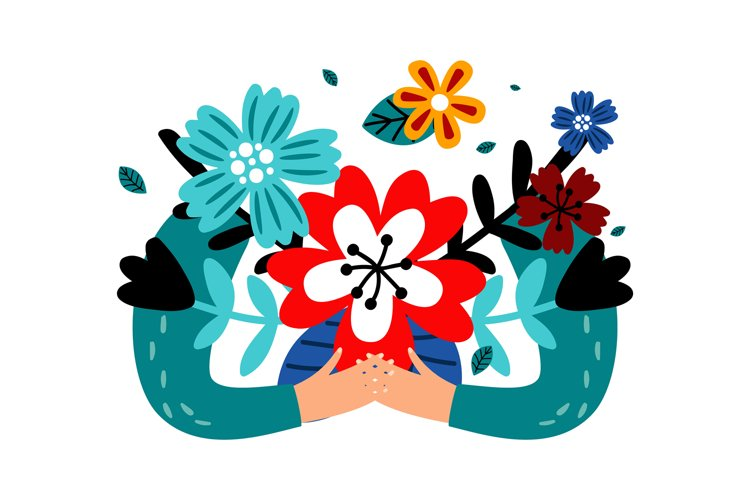 Hands holding flowers bouquet example image 1
