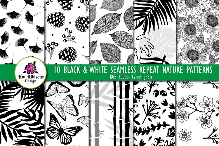 Black and White Seamless Repeat Nature Patterns Bundle