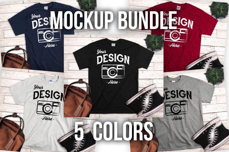 T shirt Mockup Bundle 5 Colors Styled T Shirt Display example image 1