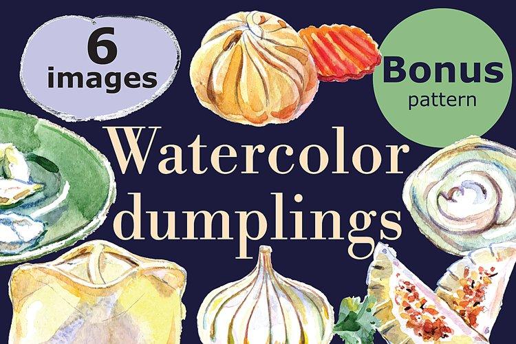 Watercolor dumplings set and Bonus! example image 1