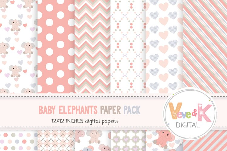 Cute Elephants Digital Paper, Elephant Digital Paper, Elephant Baby Shower, Elephants, Elephants Clip Art, New Baby Girl