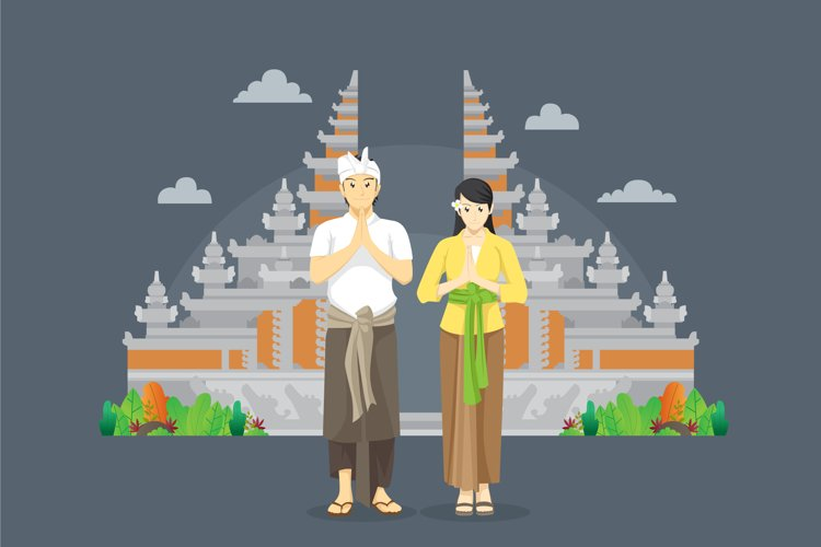balinese couple namaste greetings in front of gate