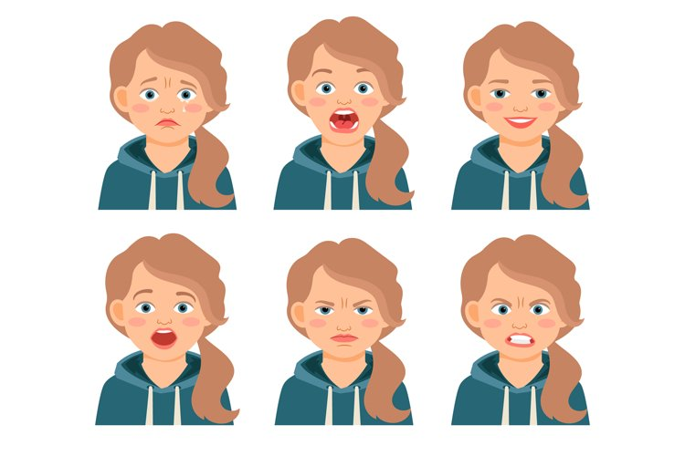 Little kid girl face expressions example image 1