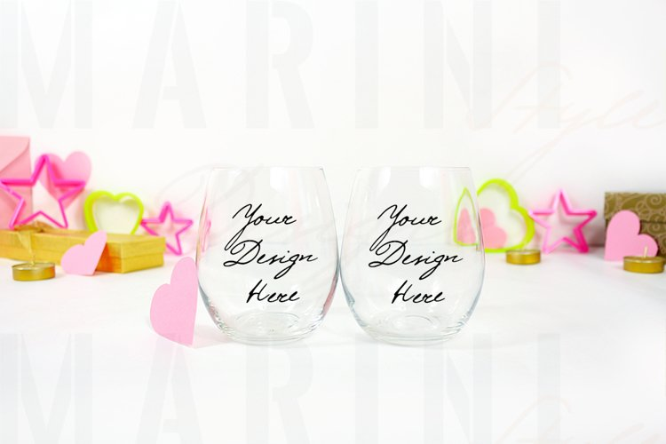 Valentines Stemless Wine glass mockup, 2 wine glasses, 1167