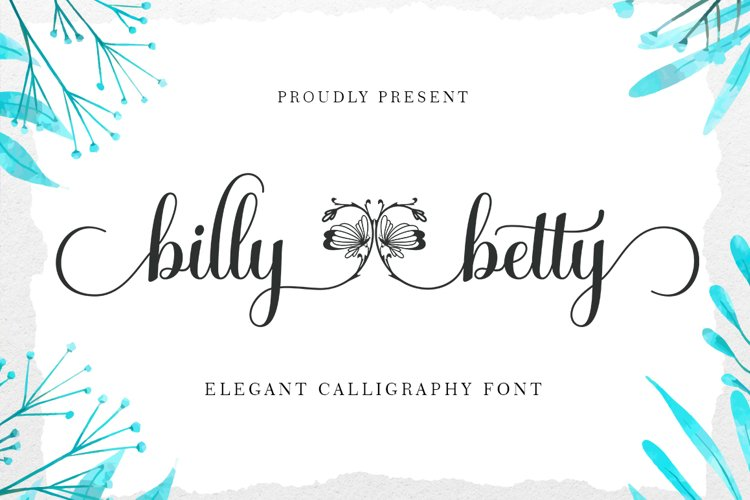 billy betty - Elegant Calligraphy font example image 1