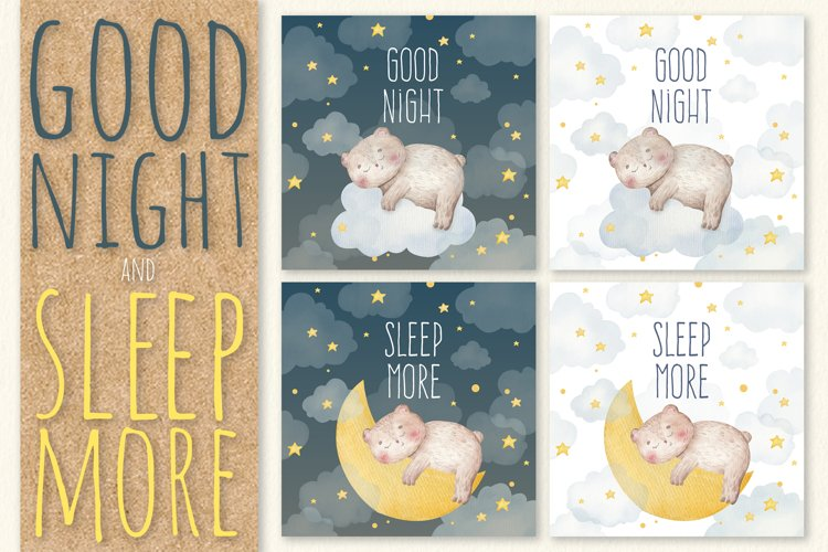 Cute traced watercolor sleeping cards with baby bear eps jpg