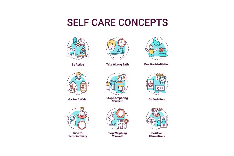 Self care concept icons set example image 1
