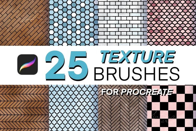 25 Procreate Texture Brushes Set, Interior, Architecture