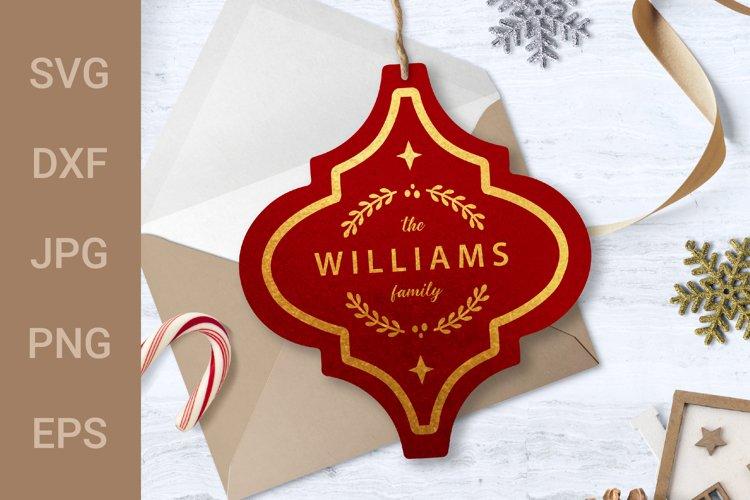 Arabesque Tile Design   Family Name Christmas Ornament SVG example image 1