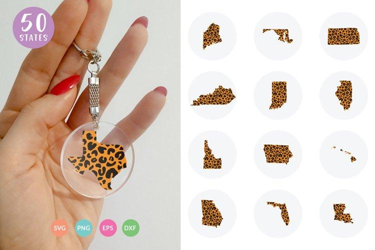 USA States Leopard Print Circle Keychain SVG Cut Files