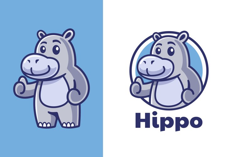 Thumbs up Hippo Mascot Logo Design example image 1